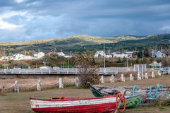 Secnic view of fishermen village in Quebec country Royalty Free Stock Photography