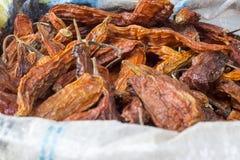 Seco d'Aji Amarillo, poivrons de piment jaunes secs du Pérou Images libres de droits