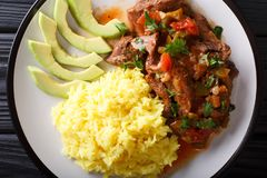 Free Seco De Chivo�is Goat Stew With Yellow Rice And Avocado Close-up Stock Images - 114862574