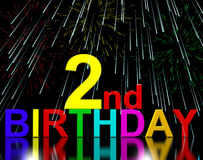 Second Or 2nd Birthday Celebrated. With Fireworks Display Stock Photo
