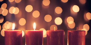 Second advent. Christmas decoration candle for advent season two candles burning Royalty Free Stock Photo