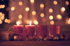 Second advent. Christmas decoration with christmas bauble and candle for advent season two candles burning Stock Photography