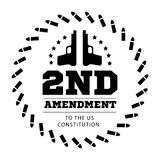 Second Amendment to the US Constitution to permit possession of weapons. Vector illustration on white. Second Amendment to the US Constitution to permit Stock Photos
