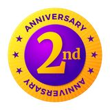 Second Anniversary badge, gold celebration label, Royalty Free Stock Images