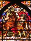 Second Apocalyptic horsemen. Stained glass window from Saint-Jean de Montmartre church, Paris Stock Photos