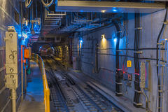 Second Avenue Subway Tunnel. Looking North into the uptown tunnel from the 72nd Street platform on the new Second Avenue Subway, New York Stock Photos