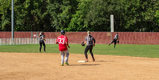 Second Baseman Makes a Play - Special Olympics Royalty Free Stock Photography