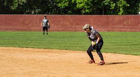 Second Baseman Makes a Play - Special Olympics Royalty Free Stock Image