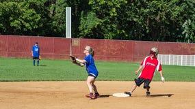 Second Baseman Makes a Play - Special Olympics Stock Photos