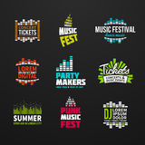 Second big set music equalizer logotype vector Royalty Free Stock Images