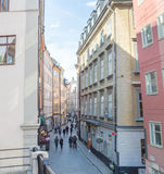 The second biggest street in Old Town Stockholm Stock Image