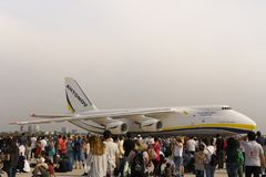Antonov cargo aircraft in Euroasia air show event 2018 in Antalya, Turkey. Second biggest in the world cargo aircraft Antonov `AN-124` in exhibition and air show stock photography