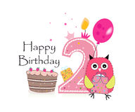 Second birthday greeting card. Cute owl, balloon and birthday cake vector background Royalty Free Stock Image