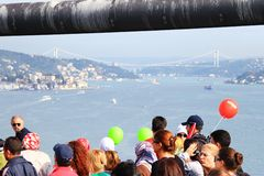 Second bridge from the first. Thousands of people make their way through Bosporus suspended bridge during the 32nd Intercontinental Eurasia Marathon run on Royalty Free Stock Photography