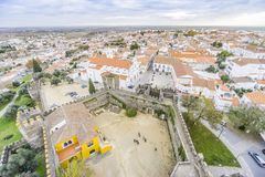 Cityscape with castel and cathedral, Beja, Alentejo, Portugal. Second Capital of Alentejo, Beja cityscape with castel and cathedral, Portugal Royalty Free Stock Photo