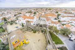 Cityscape with castel and cathedral, Beja, Alentejo, Portugal. Second Capital of Alentejo, Beja cityscape with castel and cathedral, Portugal Stock Image