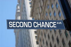 Second chance Avenue. Road sign stock photography