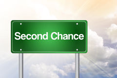 Second Chance Green Road Sign Stock Photos