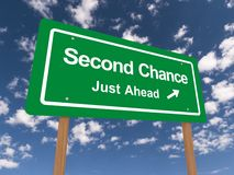 Second chance just ahead sign. With blue sky and cloudscape background stock illustration
