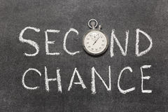 Second chance. Phrase with vintage precise stopwatch used instead of O Royalty Free Stock Image