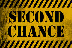 Second chance sign yellow with stripes. 3D rendering royalty free illustration