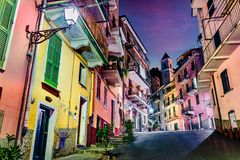 Free Second City Of The Cique Terre Sequence Of Hill Cities - Manarola. Colorful Spring Night In Liguria, Italy, Europe.  Traveling Stock Images - 159462464