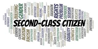 Second-Class Citizen - type of discrimination - word cloud. Wordcloud made with text only royalty free illustration