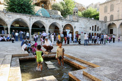 The second courtyard of the Hazreti Ibrihim Halilullah in Urfa in Turkey. The second courtyard of the Hazreti Ibrihim Halilullah (Prophet Abraham's Birth Cave) Stock Photography