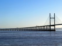 Second Severn Crossing. The second crossing taken from Sudbrook foreshore at high tide Stock Photos