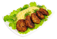 The second dish - Russian rissole and mashed Stock Image