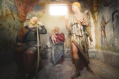 Second dream of Saint Joseph - biblical scene representation presepe. Biblical scene representation presepe the second dream of Saint Joseph Sacro Monte di stock photos