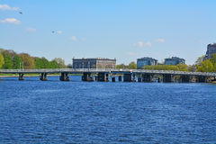 Second Elagin bridge and Martynov embankment in St. Petersburg, Russia Royalty Free Stock Photos