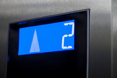 Second floor on elevator display. Royalty Free Stock Photos
