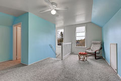 Second floor landing with blue walls Stock Images