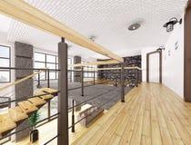 Second floor of loft apartment 3d rendering Stock Image