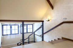 Second floor of modern building. Glass banister Royalty Free Stock Images