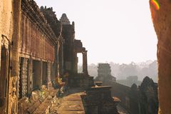 Second Floor view of Angkor wat temple in Cambodia Royalty Free Stock Photo