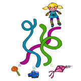 The second game in recovering the lost object. Illustration is a game for children is to find the rope which leads the child to his shoes Vector Illustration