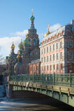 Second Garden Bridge and Cathedral of the Resurrection Savior on Spilled Blood on a sunny day in March. Saint-Petersburg, Russia Stock Image
