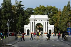 The second gate of Tsinghua University. Park, fall, clear day royalty free stock photos