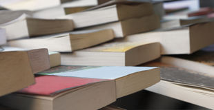 Second hand books. Abstract image of books at the second hand bookshop Royalty Free Stock Photo