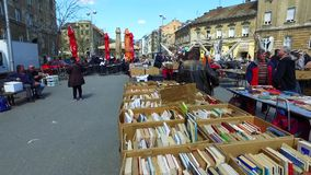 Second hand books sale in Zagreb. Every Friday and Saturday there is second hand book sale on Britanski square in Croatian capital Zagreb. It attracts locals and stock video