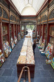 Second-hand bookshop situated in the Bortier Gallery in Brussels. Brussels, Belgium - July 31, 2015: Second-hand bookshop situated in the Bortier Gallery in stock photography