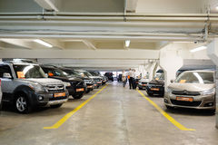 Second-hand cars in dealer's showroom. Royalty Free Stock Photography
