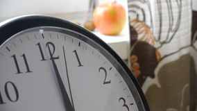 Second Hand Of A Clock In Cozy Kitchen. Clock In The Kitchen: Closeup In The Foreground Of The Frame. Second Hand Runs 30 Seconds. On Blurred Background Yuo Can stock video footage
