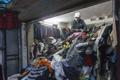 Second hand cloth shop in Vietnam. Royalty Free Stock Images
