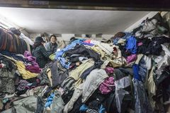 Second hand cloth shop in Vietnam. Stock Photo