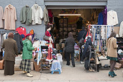 Second hand clothing stall in Bricklane market Royalty Free Stock Photo
