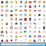 100 second hand icons set, cartoon style Stock Image