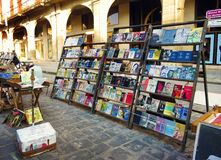 Second hand market in Havana. Cuba, Havana - 08 April, 2016: books about Che Guevara and Fidel Castro on book stalls of Havana, who raised the spirit of Royalty Free Stock Photo